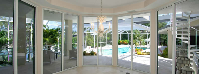 sunroom with sliding doors